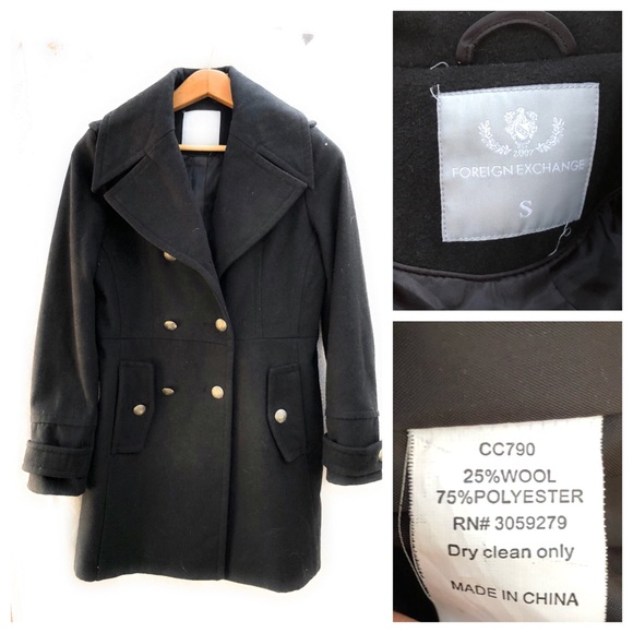 Foreign Exchange Jackets & Blazers - Foreign Exchange Double Breasted Wool Blend Coat